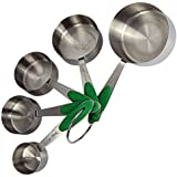 Measuring Cups - Metal Set with Engraved Standard and Metric Measurements - FREE Baking eBook
