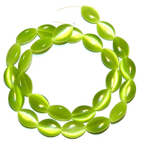 Cats Eye Flat Oval Beads - Green Cats Eye Fiber Optic Glass 15mm Flat Puffed Marquise Oval Beads 15#ID-3681