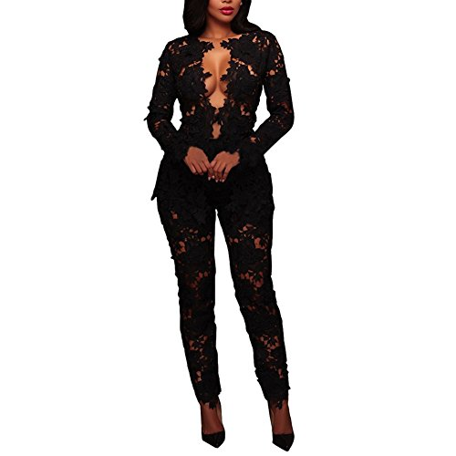 Joseph Costume Women's Sexy Floral Lace Blazer Long Sleeve Bodycon Two Piece Jumpsuit Rompers Clubwear Black XXL (Pants Lace Sexy)