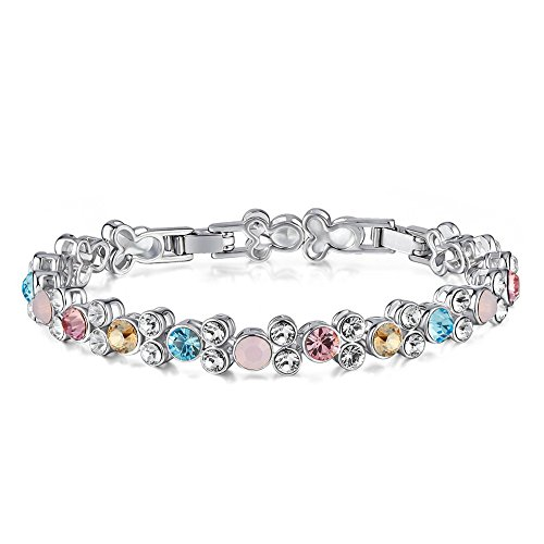 SILYHEART Tennis Bracelet Made with Swarovski Crystal, Fashion Jewelry Gift for Girls