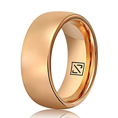 Luxffield 2 mm 6 mm 8 mm Anillo de carburo de tungsteno abovedado para hombres Woemn, anillo básico de promesa simple, acabado de alto brillo / ajuste cómodo con acabado de cepillo, tamaño 7.5 a 13