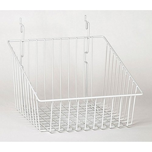 Sloping Basket Slatwall Gridwall Pegboard Display Fixture Lot of 6 White NEW