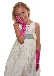 Showstopper Shiny Satin Elbow Length Gloves for Girls (Fuchsia, 4-7)