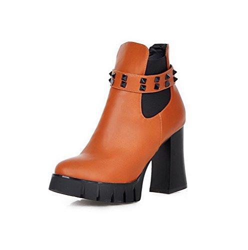AgooLar Damen Niedrig-Spitze Reißverschluss Blend-Materialien Hoher Absatz Stiefel, Rot, 38