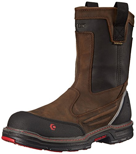 Wolverine Men's Overman Nano Toe 10 Inch WPF Work Boot, Brown/Black, 10.5 M US
