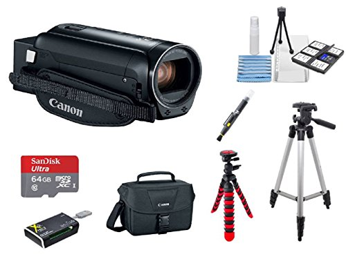 Canon VIXIA HF R82 A KIT + 2 Tripods + 64GB microSD Card + Camera Bag + Card Reader + 6PC Cleaning Kit + 2-in-1 Lens Cleaning Pen by Hawthorne
