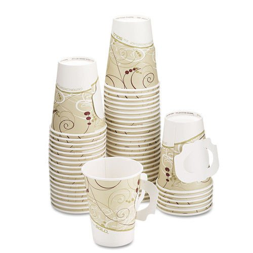 SOLO Cup Company SCC 378HSMSYM 378HSM-J8000 Hot Cup with Paper Handle, Symphony Design, 8 oz. Capacity, Paper, Beige (Pack of 1000)