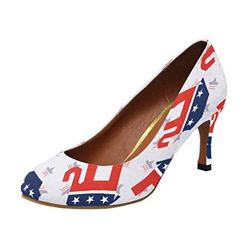 INTERESTPRINT High Heel, Formal, Wedding, Party Simple Classic Dress Pump Elephants USA Flag 10 B(M) US
