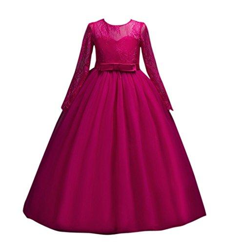 Color Ai larga bola la manga de de Tulle Dama moichien Chicas boda encaje Bowknot de rosa Vestido de honor de rqP0Urwg