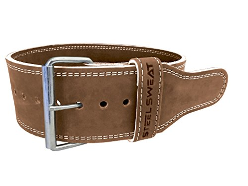 Weight-Lifting-Belt-by-Steel-Sweat-4-Wide-by-10mm-Thick-Single-Prong-Heavy-Duty-Adjustable-Powerlifting-Belt-with-Vegetable-Tanned-Leather-Brown-HYDE