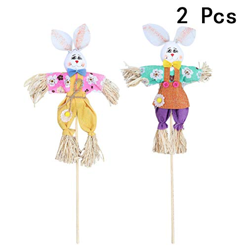 LUOEM 2pcs Easter Scarecrow Bunny Scarecrow Autumn Fall Harvest Decoration for Home Outdoor Yard]()