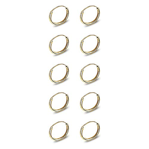 5 Pairs Yellow Gold Flashed Sterling Silver Small Endless 10mm Lightweight Thin Round Unisex Hoop Earrings