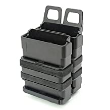 H World Shopping Airsoft Tactical FMA FAST Speed DOUBLE Magazine Pouch Set MOLLE SYSTEM 5.56 Black