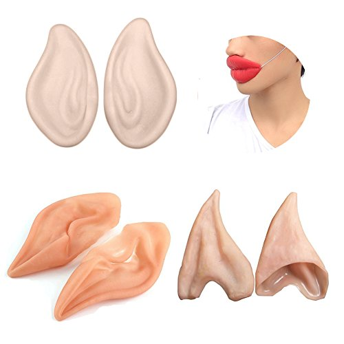 DomeStar Latex Fairy Pixie Elf Ears Halloween Party Latex Soft Pointed Prosthetic Tips Ear Cosplay Accessories 3 Different Pair with Big Lips