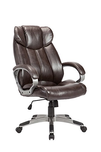Leather Chair Heights Pacific (AC Pacific Modern Gas Lifted PU Leather Upholstered Adjustable Swivel Office Chair with Thick Padded Seat and Caster Wheels, Brown)