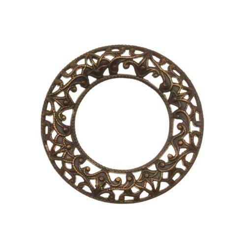 Scrolled Filigree Ring - Vintaj Natural Brass Open Circle Scrolled Filigree Ring Pendant 28mm (1)