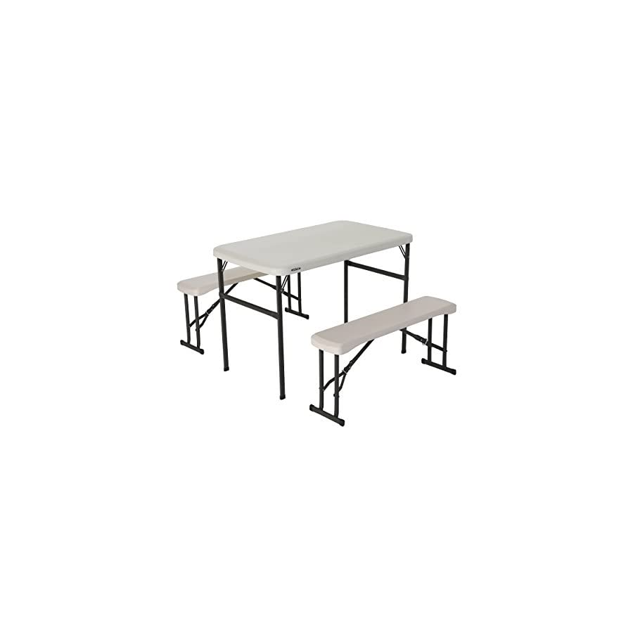 Lifetime 80373 Portable Folding Camping Picnic Table and Bench Set ...