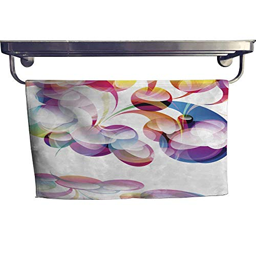 warmfamily Absorbent Towel Abstract Colorful arc-Drop Background Towel W 10