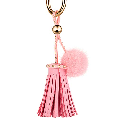 JOUDOO Leather Tassels Keychain with Mink Fur Ball and Rivet Keyring for Bags Purse Keys GJ019 (pink) ()