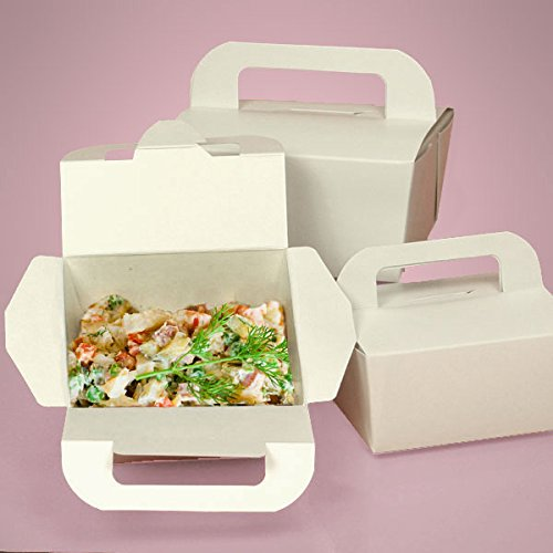 Handle Take Out Boxes 4'' X 3-15/16'' - Restaurant Supplies - 300 each by Paper Mart