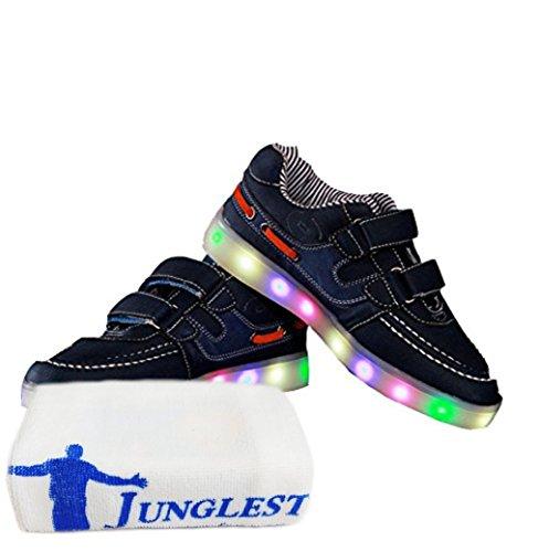 [Present:kleines Handtuch]JUNGLEST® Schwarz 7 Farbe Unisex LED-Beleuchtung Blink USB-Lade Turnschuh-Schuhe c11