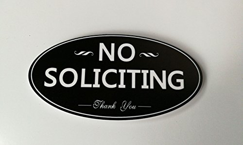 "Meijiafei No Soliciting Sign for Home and Business 5""x 2.5"" Outdoor Indoor Use 