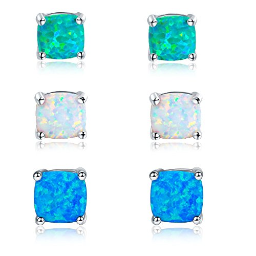 GEMSME Green White and Blue Opal 6mm cushion Stud Earrings Pack of 3 PCS