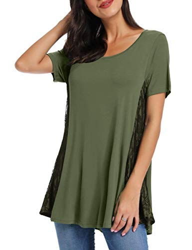 AUPYEO Womens Lace Tunic Top Short Sleeve Swing T Shirt for Leggings Army Green