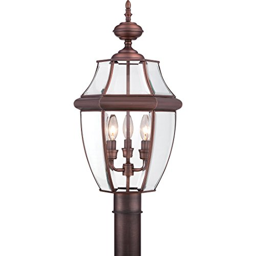 Quoizel NY9043AC  Newbury 3-Light Outdoor Lantern, Aged (Tiffany Copper Bulb)