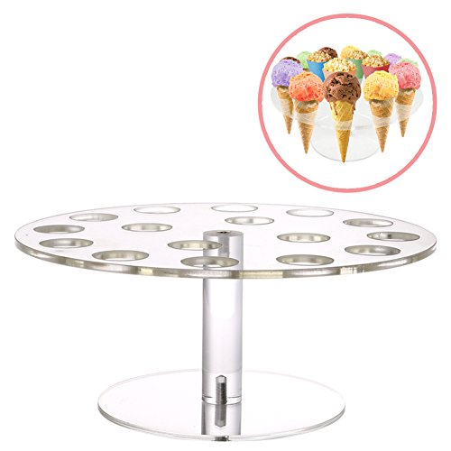 Ice Cone Holder | Amazing 16 Holes Round Transparent Stand Holder to Display Ice Cream Cone Popcorn Cupcake Candy Cone Snow Cone French Fries Sweets Savory | Food Grade Acrylic Material