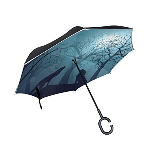 All agree Wolf Howling At The Moon Inverted Umbrella Double Layer Windproof UV Protection Compact Car Reverse Umbrella