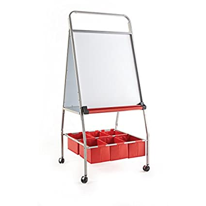 Guidecraft Mobile Board Easel And Storage Heavy Duty Rolling Magnetic Dry Erase Board With 6 Organizing Bins Kids Art Equipment Classroom