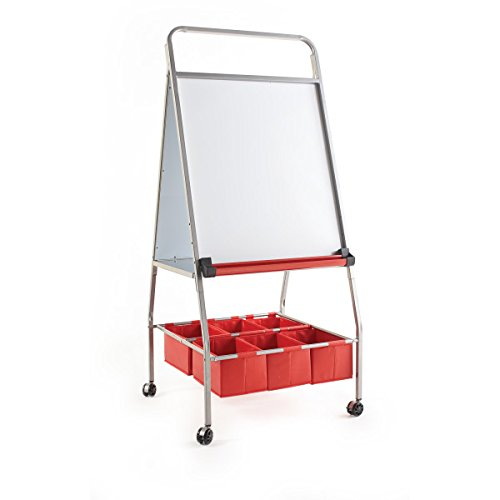 Guidecraft Mobile Board Easel and Storage  HeavyDuty Rolling Magnetic DryErase Board with 6 Organizing Bins Kids#039 Art Equipment Classroom Furniture School Supply
