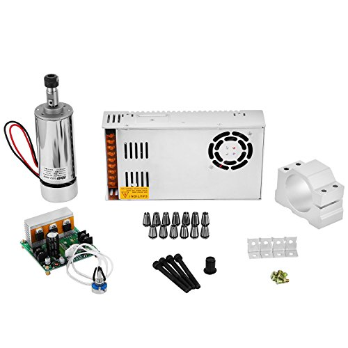 OrangeA Spindle Motor Kit 400W DC CNC Spindle Motor with Switching Power Supply and CNC Mach3 Speed Controller and 13pcs ER11 Collet (400W) by OrangeA