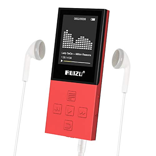 RUIZU X18 Mp3 Player with Bluetooth, Music Player with FM Radio, 100hrs Playback, and 128GB Expandable, Independent Volume Button, Red