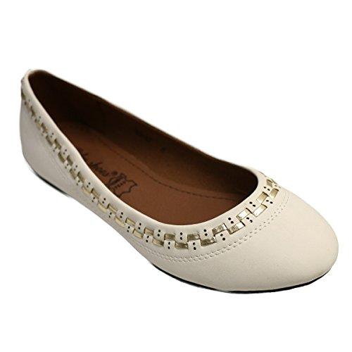 Mujer Bailarinas Blanco para Lily Shoes wq41XxXv