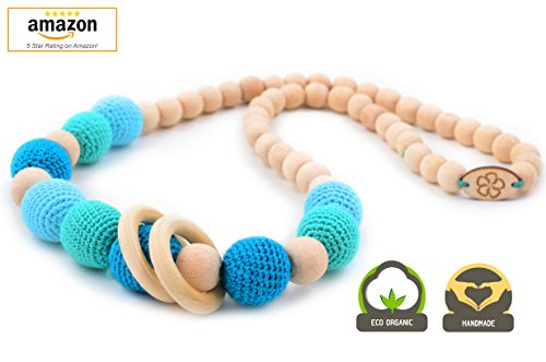 Teething Necklace Wood for Baby and Mom to Wear. HANDMADE with Wooden Gift Box. Crochet Wooden Breastfeeding Necklace. (Blue)