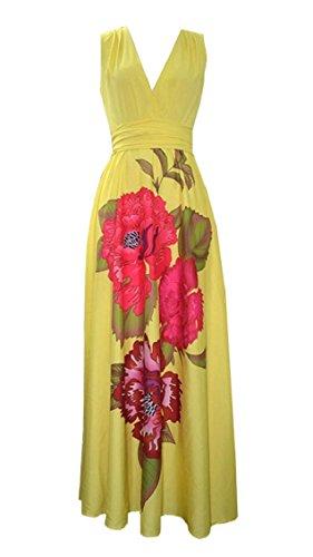 Women's Party Floral Dress Fashion Yellow Long Print Maxi Sleeveless Neck Jaycargogo V dUHqpwd0