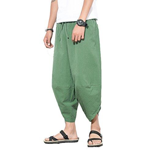 (INVACHI Mens Casual Elastic Waist Linen Capri Wide Leg Baggy Harem Pants Trousers Green)