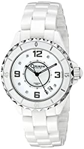 Akribos XXIV Women's AK484WT-N Diamond Embellished Ceramic Watch with Link Bracelet