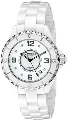 Akribos XXIV Women's AK484WT-N Diamond Embellished Ceramic Watch with Link Bracelet