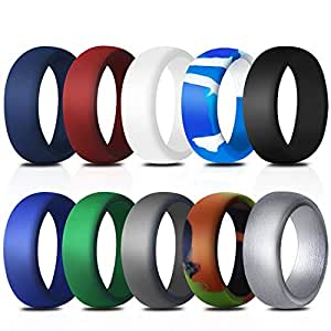 Amazon.com : COOLOO Silicone Wedding Ring for Men, 10 Pack