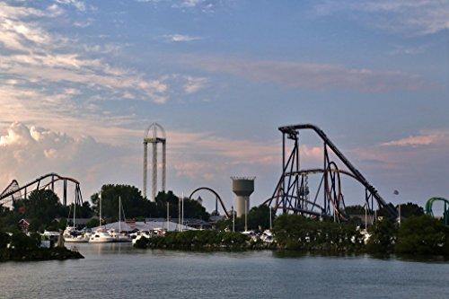 Thrill Rides Rollercoasters Cedar Point Amusement Park Sandusky Ohio Photo Art Print Poster 18X12 Inch