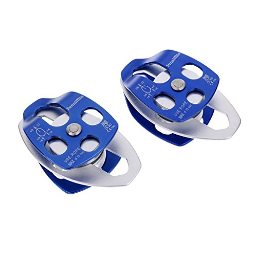 2 Piece Pulley - MonkeyJack 2 Pieces Heavy Duty 32KN / 7100lbs Double Mobile Pulley Trolley Sheave for 15mm Rope Hauling Lifting Rescue Rock Climbing Tree Rigging Dragging Tensioning - Blue