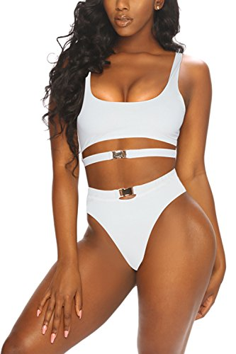 - LaSuiveur Women's Sexy Wire Free Strappy Push Up Lined Two Piece Bikini Swimsuit (M, White)