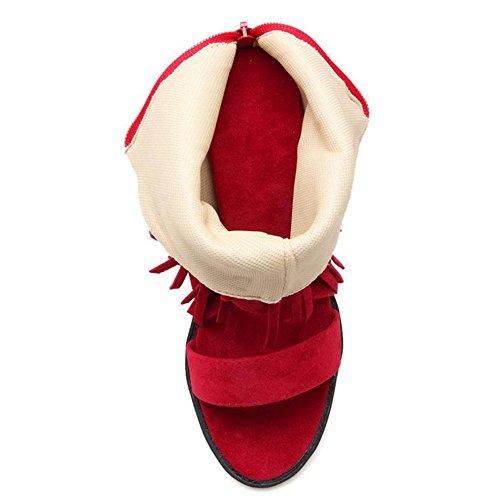 Femmes Compensees RAZAMAZA Fringe Sandales red p77wPq