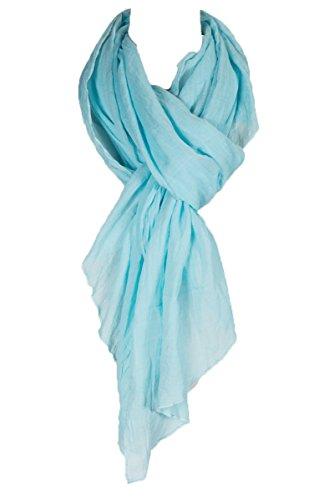 Scarf Aqua - Cotton Solid Color wrinkle Linen Scarf, fashion scarf, multi color, beach scarf (Aqua)