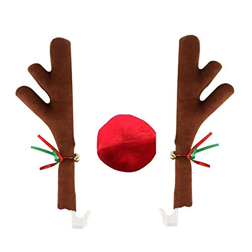 Ubabe Reindeer Car Costume Reindeer Antlers and Rudolph Nose Costume Christmas Car Decoration Xmas Gifts]()