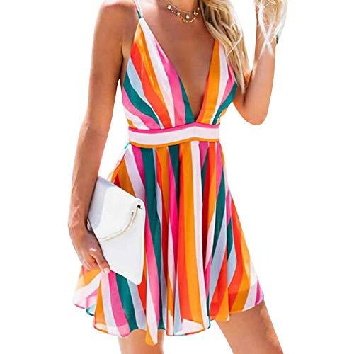 - Womens Sexy Backless Beach Dress Deep V Neck Spaghetti Strap Dress Girls Summer Colorful Striped Dresses (Mini,M)