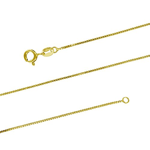 14kt Yellow Gold Plated Sterling Silver 1mm Box Chain Necklace Solid Italian Nickel-Free, 20 Inch 14kt 20 Inch Chain